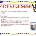 Place Value Mat Game for centers