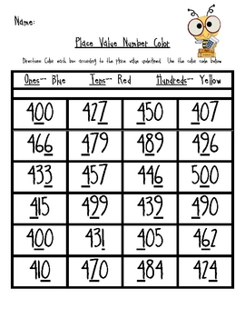 Place Value Number Color - Numbers 400-600