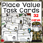 Place Value Task Cards: 32 Cards with Reward Bookmarks