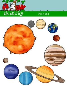 Planets / Sun Clipart Graphics 300dpi Color Black and Whit