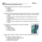 Plant Structure and Function Quiz 1
