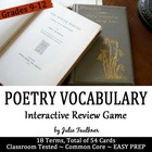 Poetry Vocabulary and Examples Cards {Human Matching Game & More}