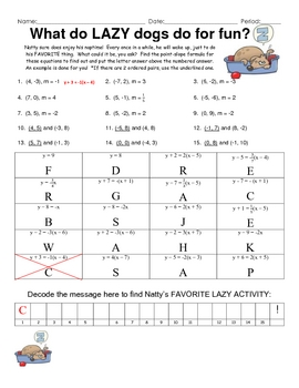 Point-Slope Practice Fun Engaging Puzzle Activity