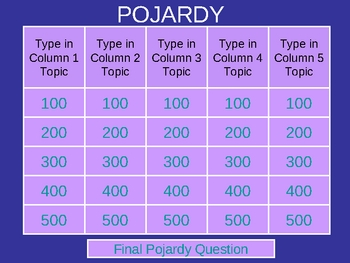 Pojardy - Jeopardy(R) Interactive Game in PowerPoint - TEMPLATE