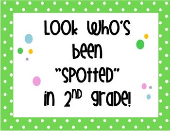 Polka Dot Class Sign - SecondGrade