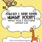 Polka Dot Jungle Themed Number Posters 1-20
