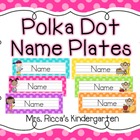 Polka Dot Name Plates (Editable)