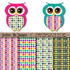 Polka Dot Owl Clip Art & Matching Polka Dot Digital Paper Set