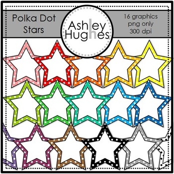 Polka Dot Stars {Graphics for Commercial Use}