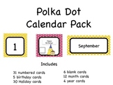 Polka Dot Theme Calendar Card Pack