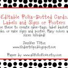 Polka-Dotted Pattern Editable Cards, Tags, and Signs or Posters