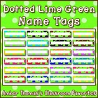 Polka dot student name plates: Teal and Lime Green