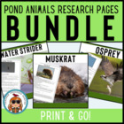 Pond Creatures Reading & Writing Pages CCSS! 22 creatures