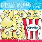 Pop Numbers Pack - Popcorn Themed Clipart Graphics