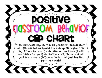 Positive Classroom Behavior Chart CHEVRON