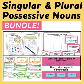 Possessive Nouns: Posters, Task Cards, Center, Practice Pa