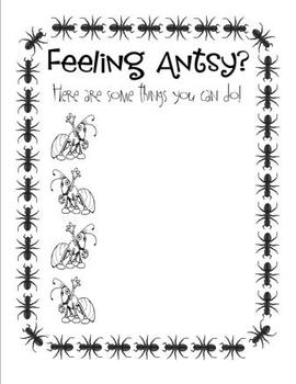 Poster - Feeling Antsy? - Great to display for students wh