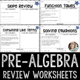 Pre Algebra Review Worksheets