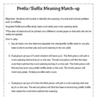 Prefix,Suffix, Word Meaning Matching Activity