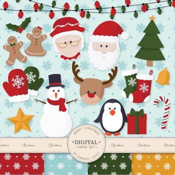 Premium Christmas Characters Clip Art & Digital Papers Set