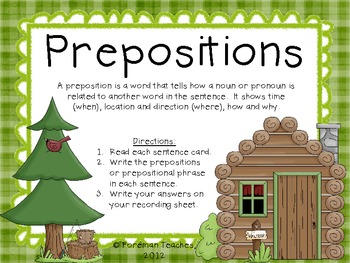 Prepositions - Task Cards