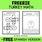 FREEBIE 4 FOLLOWERS - Roll a Turkey - Manipulative Math Activity