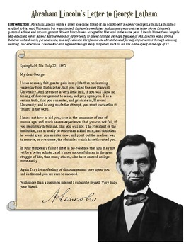 President Abraham Lincoln Letter Worksheet