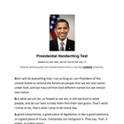 Presidential Handwriting Test- Barack Obama