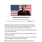Presidential Handwriting Test- Ronald Reagan
