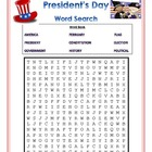 President's Day Word Search, presidents day vocab