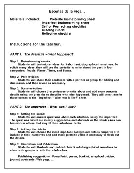 Preterite-Imperfect- Autobiography- Spanish -9-page packet