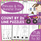 Princess and the Monster Truck Count by Twos - Cut and Paste WS