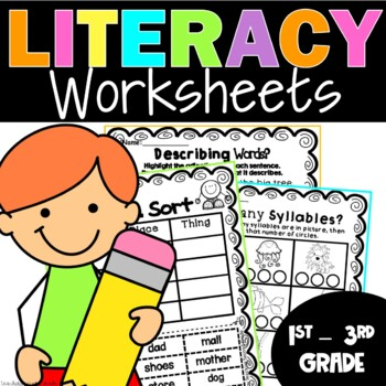 Print and Work Literacy Printables (Worksheets) Activities Cut and Paste