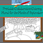 Printable Collaborative Coloring Mural for September