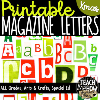 Printable Magazine Letter Cutouts, Holiday/Christmas Set: