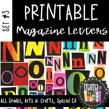 Printable Magazine Letters, Black & Bright Set, a-z, liter
