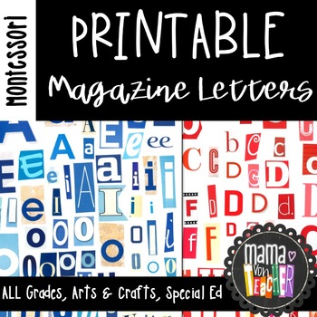 Printable Magazine Letters, Red and Blue, Montessori Inspi