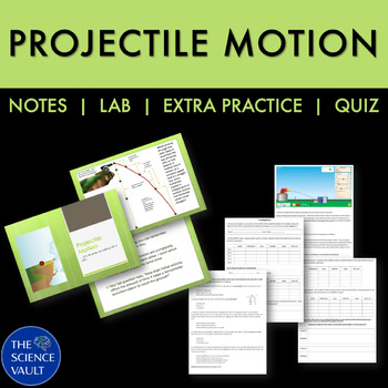 Projectile Motion Unit, Simulation Lab, Powerpoints, Wksht, Quiz