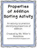 Properites of Addition Sorting Activity