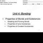 Properties of Bonds and Substances