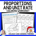 Proportions and Unit Rate Coloring Worksheet