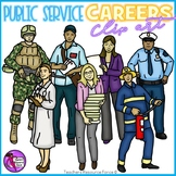 Public Service Careers Clip Art - color and black line