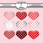 Puffy Polka Hearts Valentine Clip Art