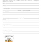 Pumpkin Character Book Report Form