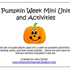 Pumpkin Week Mini Unit and Activity Set