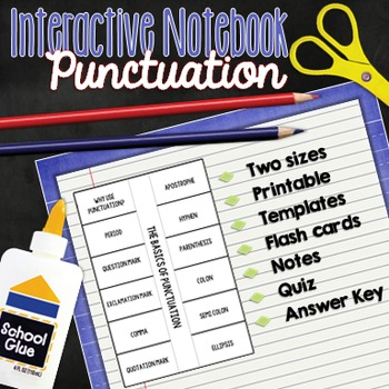 Punctuation Interactive Notebook Foldable (PLUS flash cards, notes and quiz)