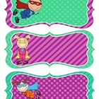Superhero Name Tags - Purple, Green and Teal