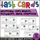 Geometry Task Cards with QR Codes: Lines, Angles, Polygons