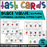 QR Code Task Cards: Place Value Rounding, Comparing, Order
