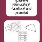 Quadratic Relationships, Functions and Parabolas Packet